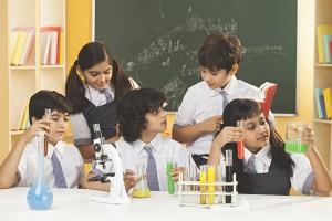 Science lab kid